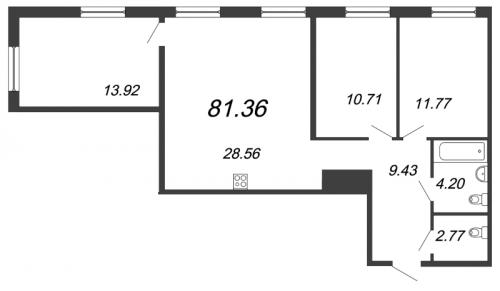 4-комнатная квартира на продажу (81,4 м<sup>2</sup>)