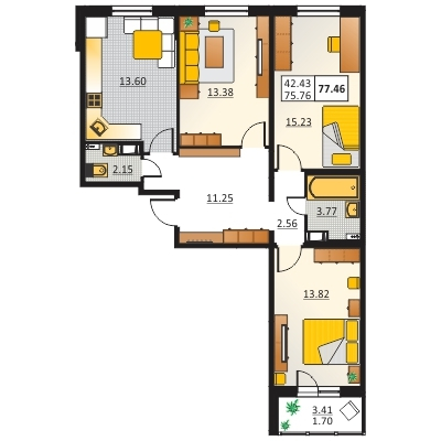 3-комнатная квартира на продажу (77,5 м<sup>2</sup>)