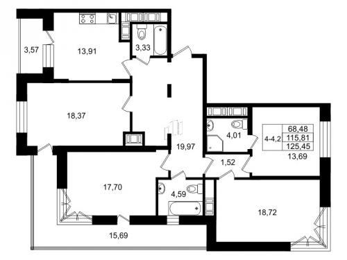 4-комнатная квартира на продажу (116,6 м<sup>2</sup>)