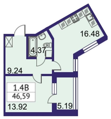 2-комнатная квартира на продажу (46,6 м<sup>2</sup>)
