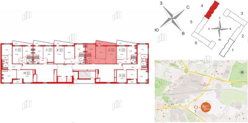 2-комнатная квартира на продажу (56,0 м<sup>2</sup>)