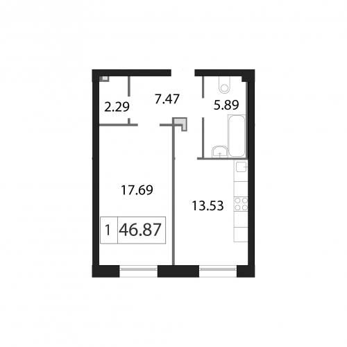 1-комнатная квартира на продажу (46,9 м<sup>2</sup>)
