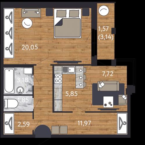 2-комнатная квартира на продажу (54,8 м<sup>2</sup>)