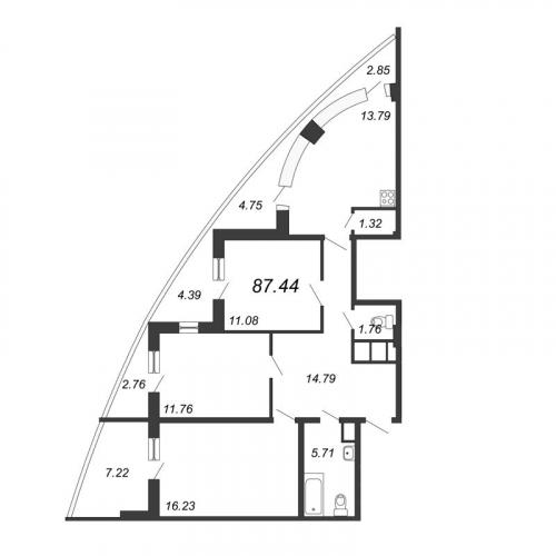 3-комнатная квартира на продажу (87,4 м<sup>2</sup>)