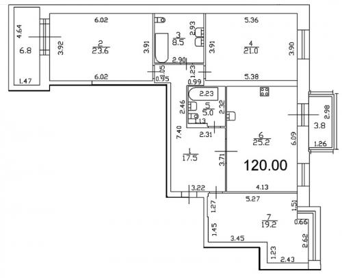 3-комнатная квартира на продажу (123,1 м<sup>2</sup>)