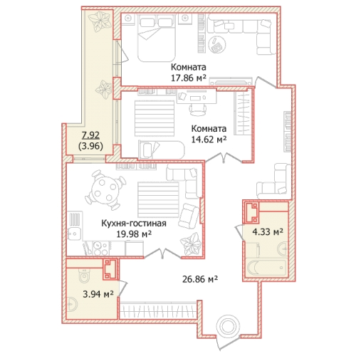 2-комнатная квартира на продажу (91,6 м<sup>2</sup>)