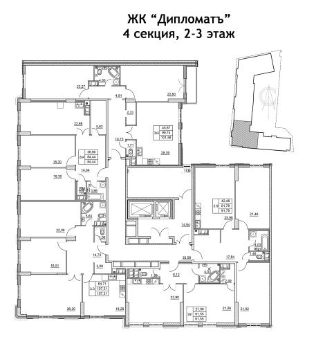 3-комнатная квартира на продажу (107,3 м<sup>2</sup>)