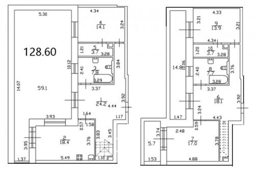 3-комнатная квартира на продажу (152,4 м<sup>2</sup>)