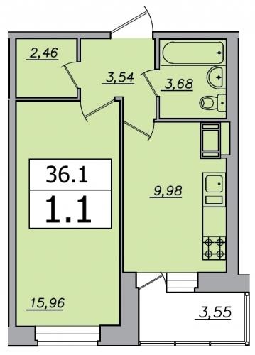 1-комнатная квартира на продажу (36,1 м<sup>2</sup>)