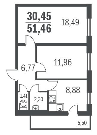 2-комнатная квартира на продажу (50,4 м<sup>2</sup>)