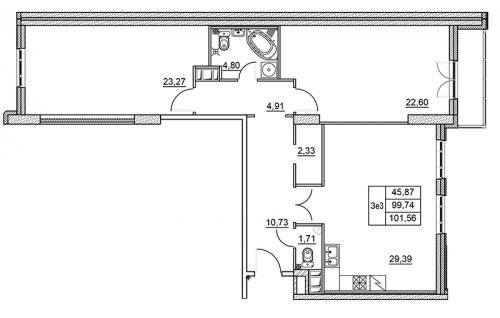 3-комнатная квартира на продажу (101,6 м<sup>2</sup>)