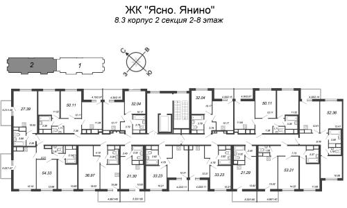 2-комнатная квартира на продажу (33,2 м<sup>2</sup>)