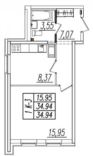 1-комнатная квартира на продажу (35,2 м<sup>2</sup>)