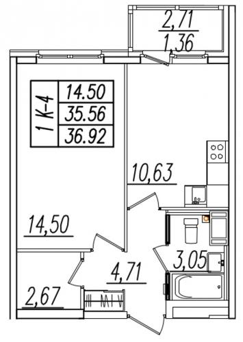1-комнатная квартира на продажу (37,9 м<sup>2</sup>)