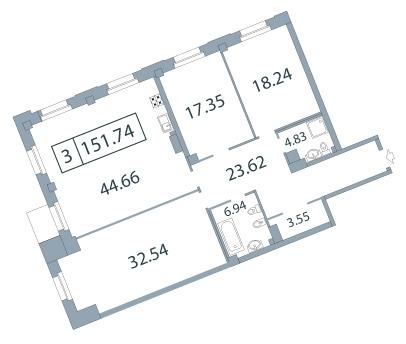 4-комнатная квартира на продажу (153,5 м<sup>2</sup>)