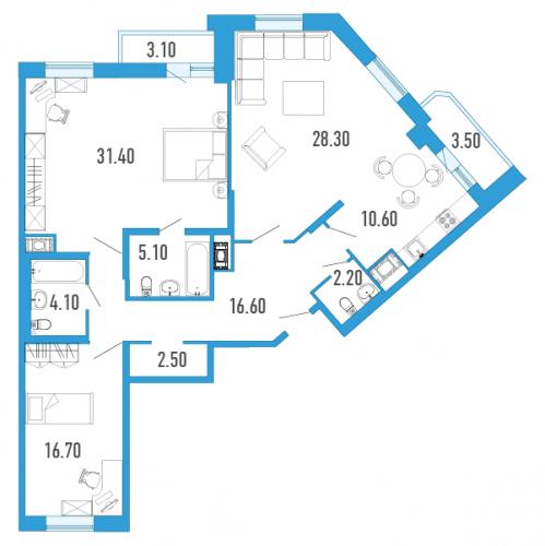 3-комнатная квартира на продажу (120,0 м<sup>2</sup>)
