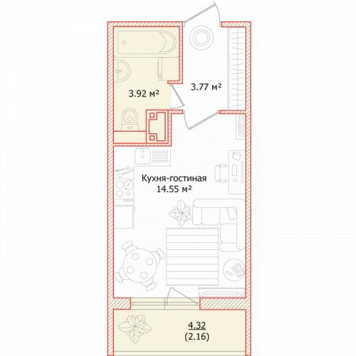 1-комнатная квартира на продажу (24,4 м<sup>2</sup>)