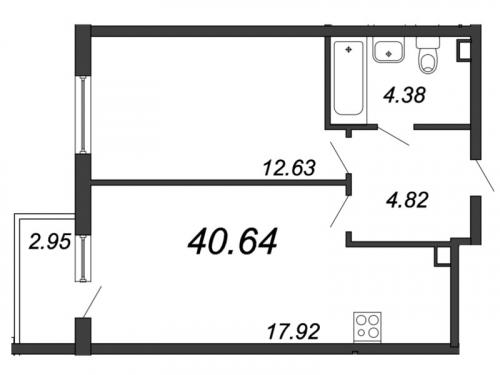 2-комнатная квартира на продажу (40,6 м<sup>2</sup>)