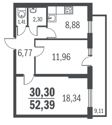 2-комнатная квартира на продажу (51,6 м<sup>2</sup>)