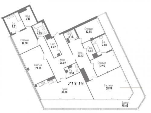 5-комнатная квартира на продажу (213,2 м<sup>2</sup>)
