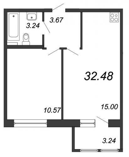 2-комнатная квартира на продажу (32,5 м<sup>2</sup>)