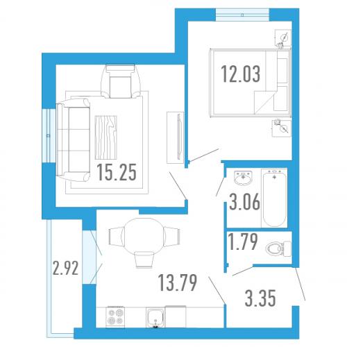 2-комнатная квартира на продажу (50,0 м<sup>2</sup>)