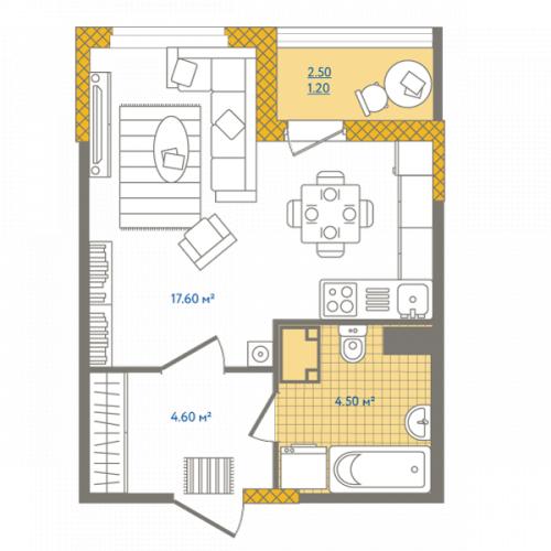 1-комнатная квартира на продажу (27,9 м<sup>2</sup>)
