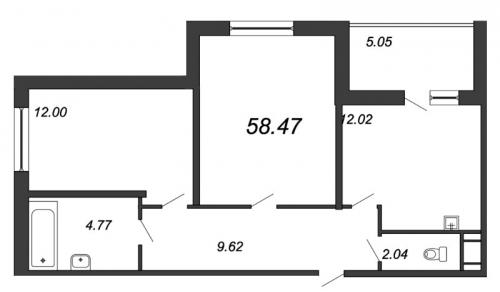 2-комнатная квартира на продажу (58,6 м<sup>2</sup>)