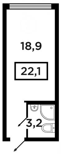 Студия на продажу (22,1 м<sup>2</sup>)
