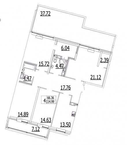 4-комнатная квартира на продажу (114,9 м<sup>2</sup>)