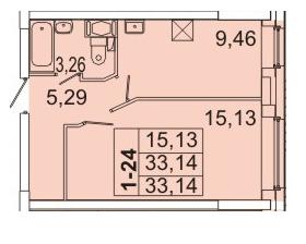 1-комнатная квартира на продажу (33,5 м<sup>2</sup>)
