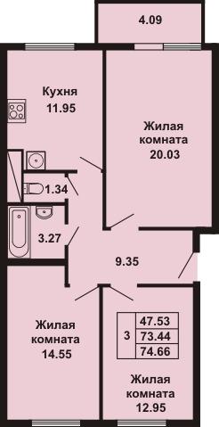 3-комнатная квартира на продажу (74,7 м<sup>2</sup>)