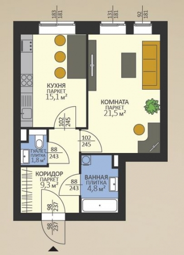 1-комнатная квартира на продажу (52,5 м<sup>2</sup>)