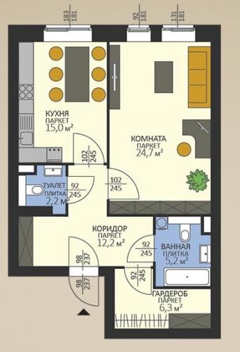 1-комнатная квартира на продажу (65,6 м<sup>2</sup>)