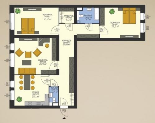 3-комнатная квартира на продажу (128,2 м<sup>2</sup>)