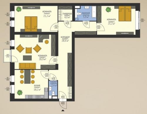 3-комнатная квартира на продажу (128,4 м<sup>2</sup>)