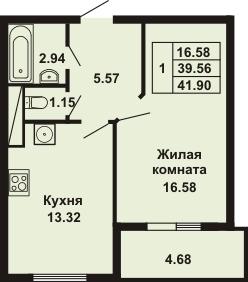 1-комнатная квартира на продажу (41,9 м<sup>2</sup>)