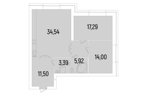 2-комнатная квартира на продажу (91,8 м<sup>2</sup>)