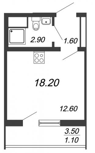 Студия на продажу (18,2 м<sup>2</sup>)