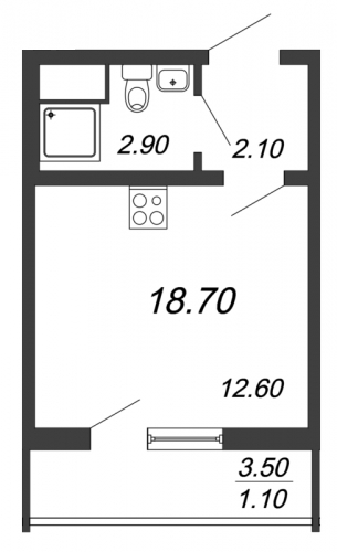 Студия на продажу (18,7 м<sup>2</sup>)