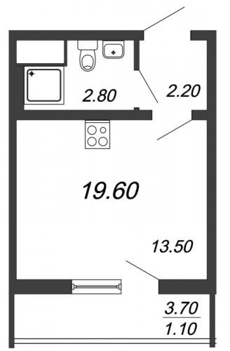 Студия на продажу (19,6 м<sup>2</sup>)