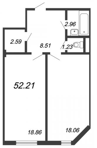 1-комнатная квартира на продажу (52,2 м<sup>2</sup>)