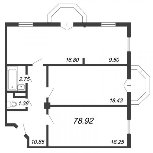 3-комнатная квартира на продажу (78,9 м<sup>2</sup>)