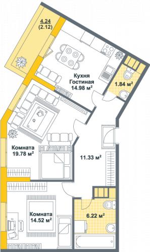 2-комнатная квартира на продажу (70,8 м<sup>2</sup>)
