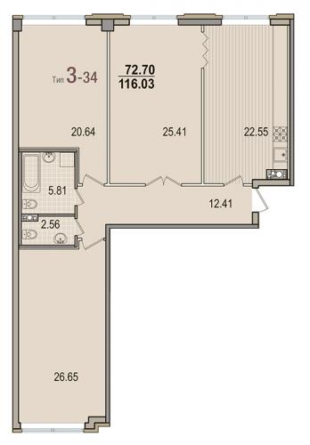 3-комнатная квартира на продажу (116,0 м<sup>2</sup>)