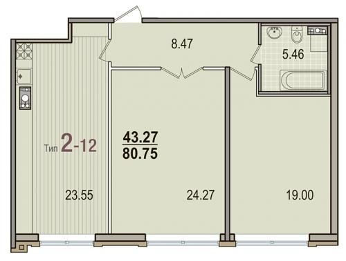2-комнатная квартира на продажу (80,8 м<sup>2</sup>)