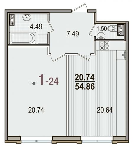 1-комнатная квартира на продажу (54,9 м<sup>2</sup>)