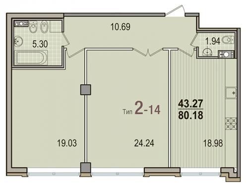 2-комнатная квартира на продажу (80,2 м<sup>2</sup>)