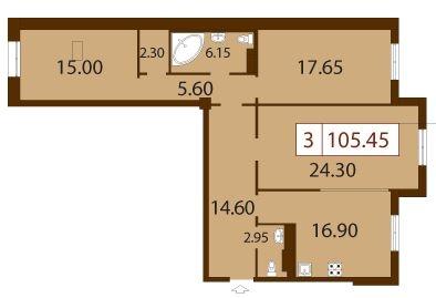 3-комнатная квартира на продажу (105,5 м<sup>2</sup>)