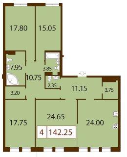 4-комнатная квартира на продажу (142,3 м<sup>2</sup>)